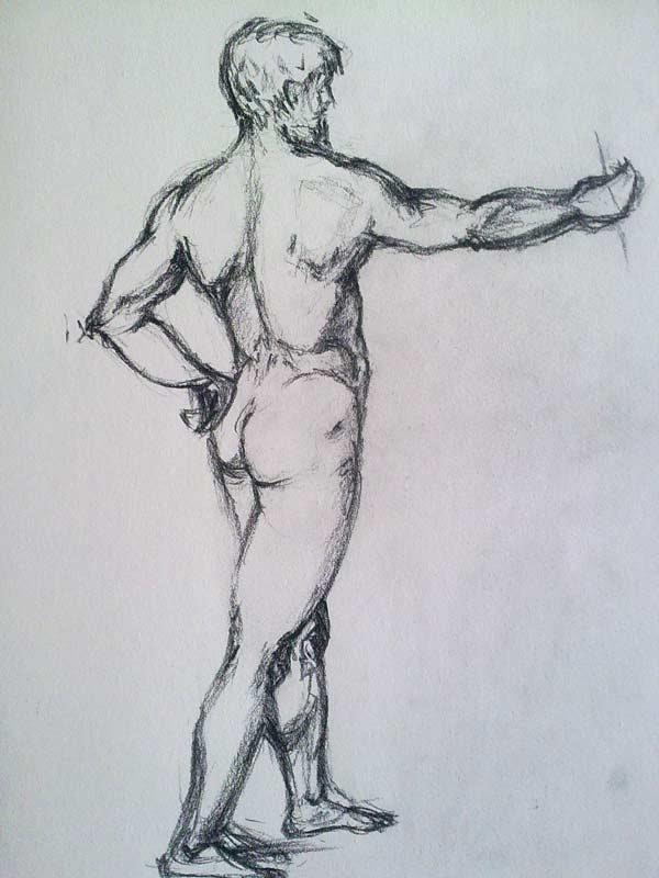 copia de un desnudo masculino de Rafael