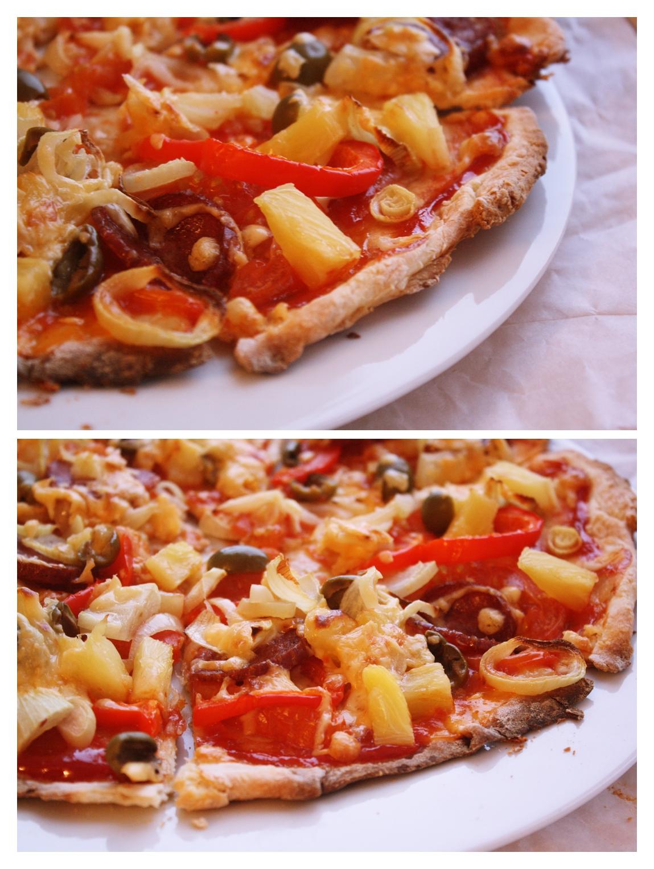 Рецепт пиццы с ананасами и колбасой