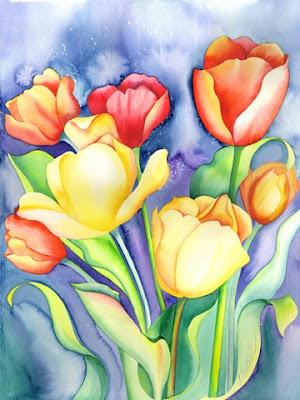 Tulipanes rojos amarillos y naranjas Acuarelas de flores