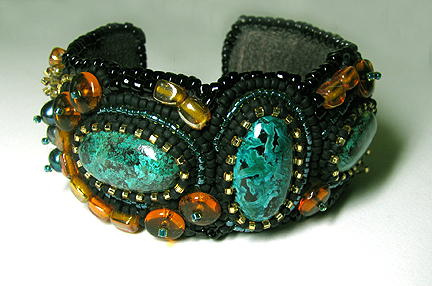 Beading Arts A Bead Embroidered Bracelet With Cabochons