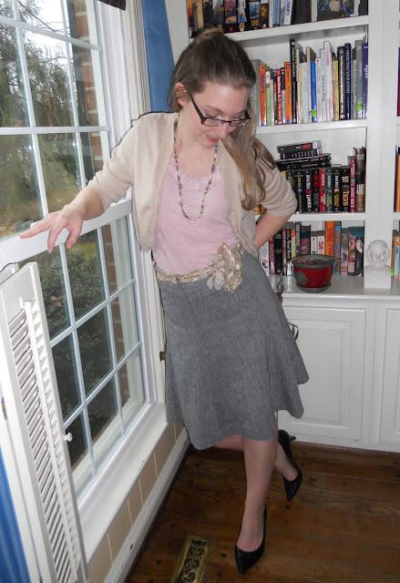 H & M grey wool skirt with peach cardigan