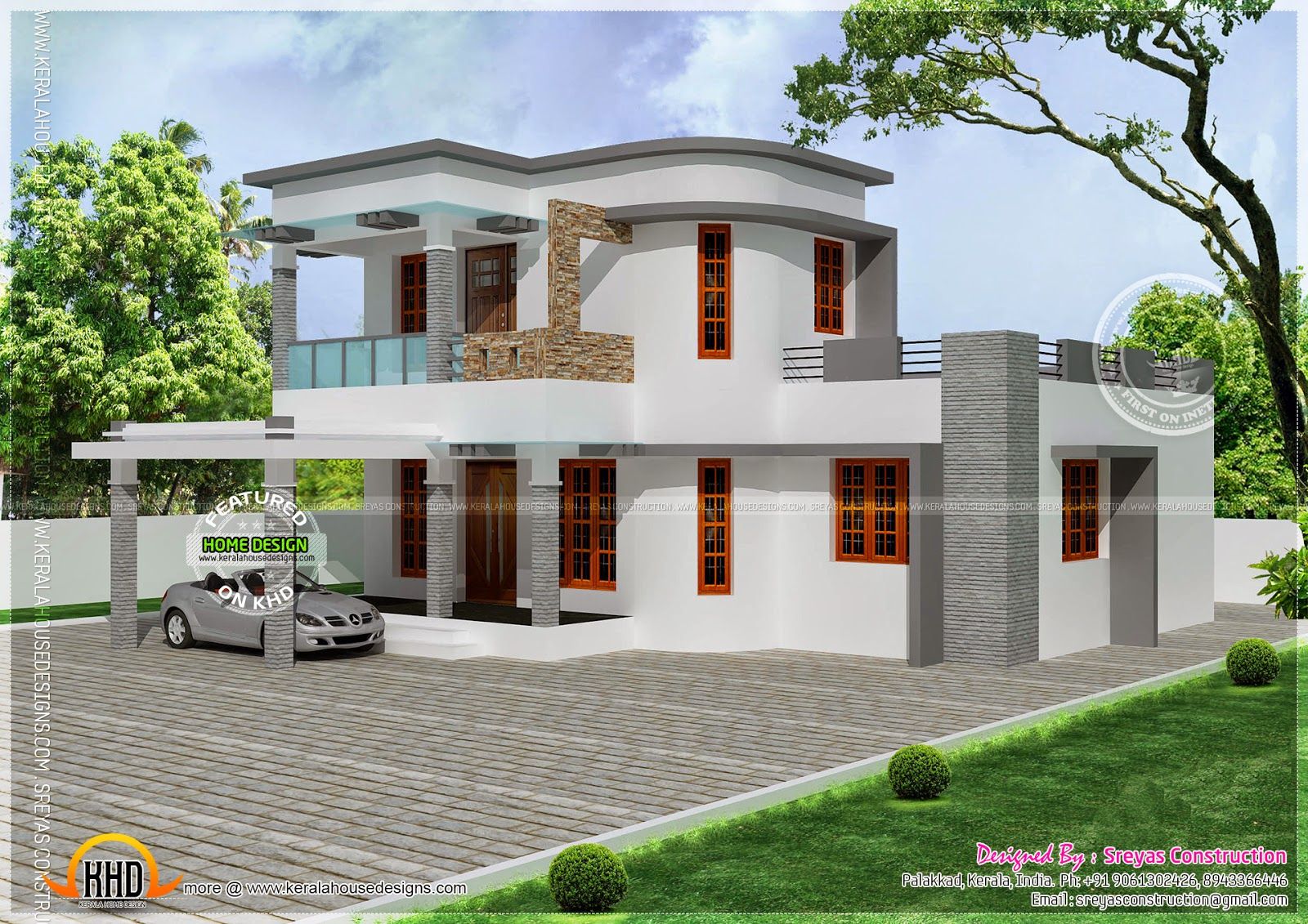 Flat with curvy mix roof house kerala home design and for Round home plans