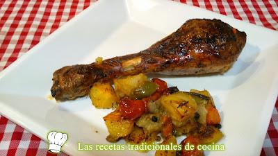 muslos de pavo al horno con verduras