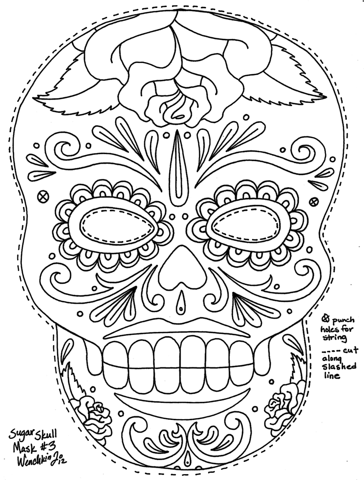 Yucca Flats, N.M.: Wenchkin\'s Coloring Pages - Sugar Skull Mask with ...
