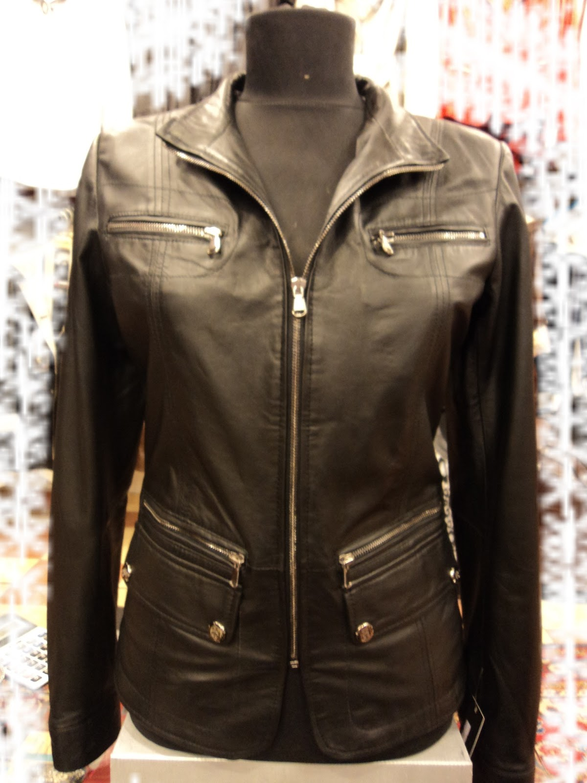 Leather sleeve jacket for women