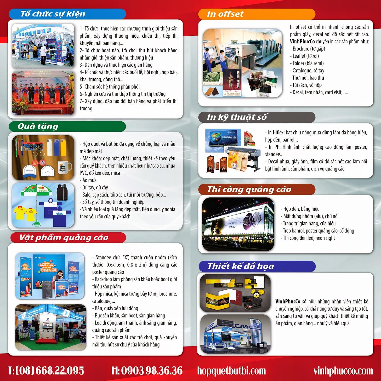 Brochure thiết kế - quảng cáo - in ấn - tổ chức sự kiện Vĩnh Phúc
