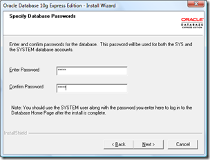 Setting password oracle XE