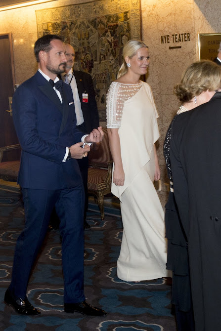 Crown Prince Haakon and Crown Princess Mette-Marit of Norway attended the banquet in honour of the 2015 Nobel Peace Prize Laureates at the Grand Hotel