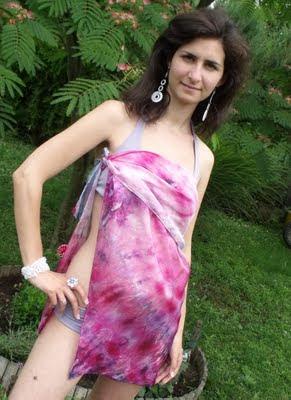 strandkendő selyemből - málna-kék