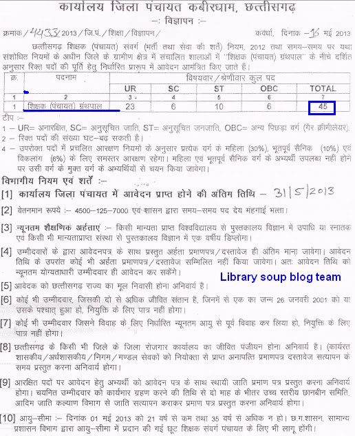 Library Jobs 45 Vacancies Of Granthpal At Chhatisgarh