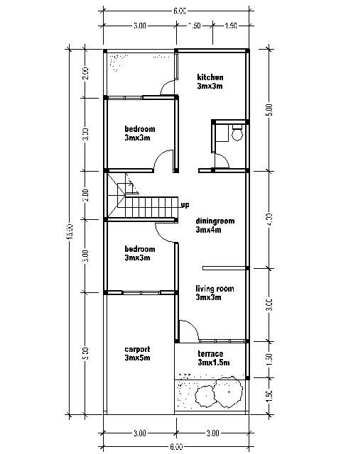Small two story house plans 6mx15m house affair for Kitchen design 6m x 3m