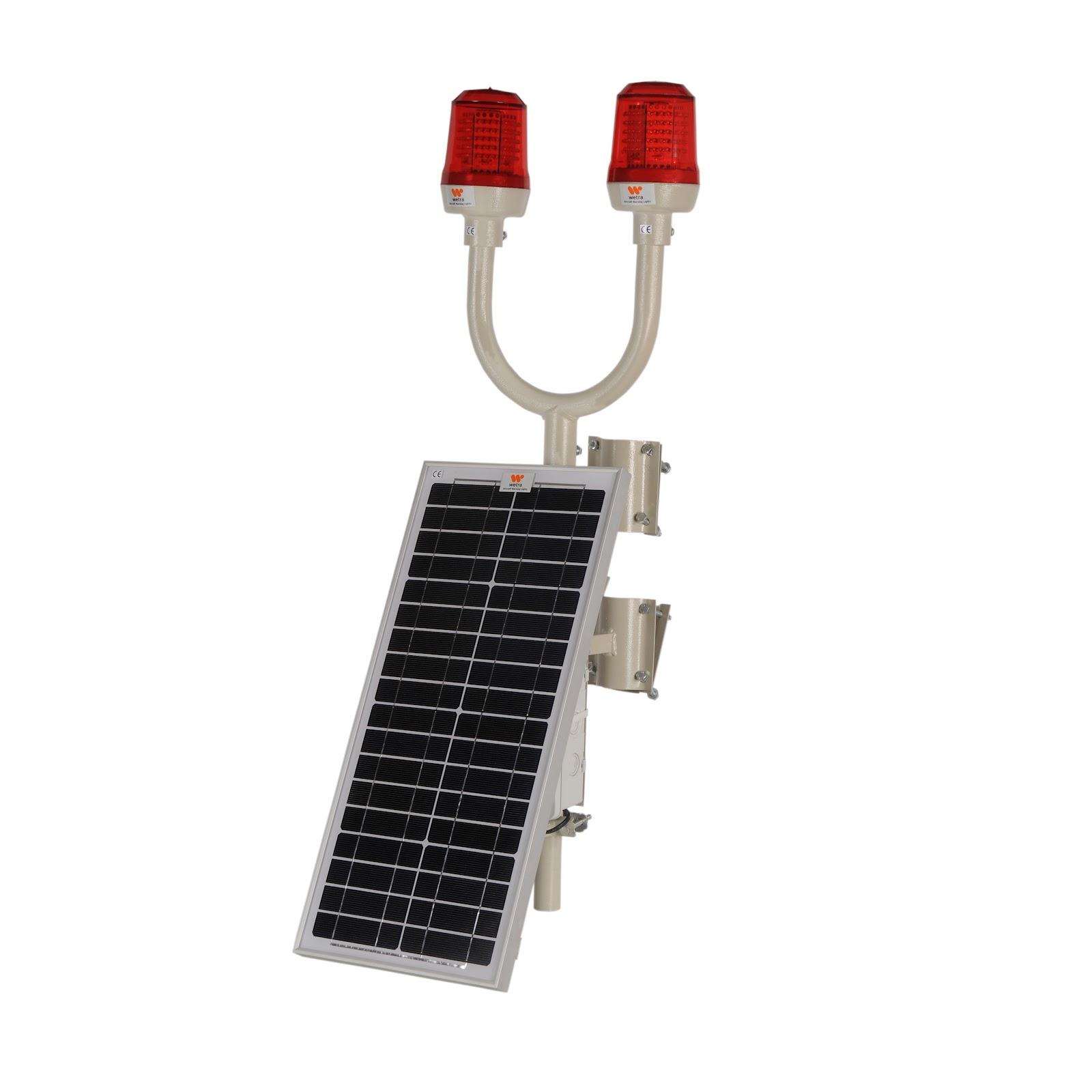 güneş enerjili kırmızı renk uçak ikaz lambası