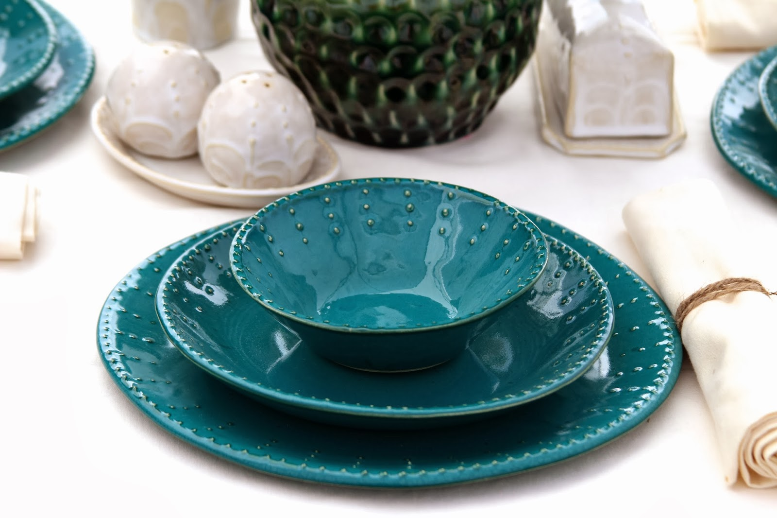 Bowl Deep Salad Plate Dinner Plate in Dark Teal & Back Bay Pottery