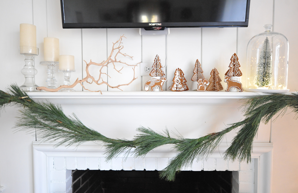 DIY White Modern Christmas Mantel