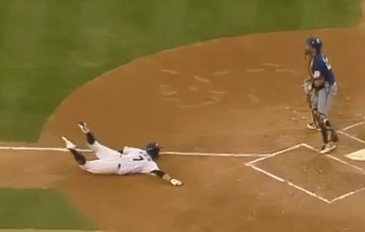 Korean baseball player faceplants swims into home plate