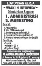 Lowongan Kerja Admin & Marketing September 2015