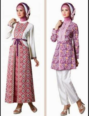 model baju gamis batik kombinasi satin