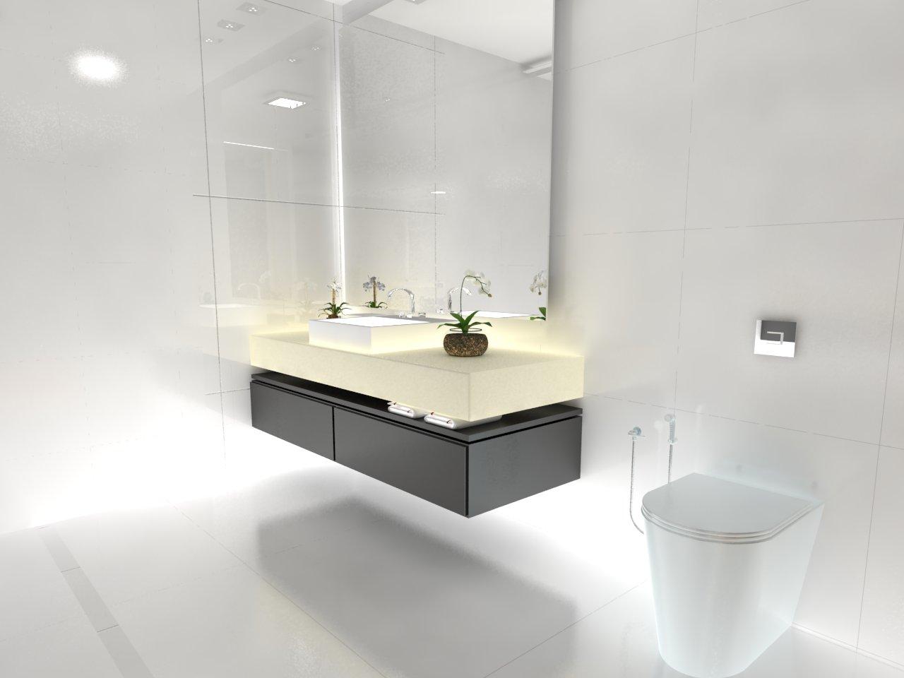 MODELAR E RENDERIZAR: Uma excelente idéia para um banheiro comprido #4C5B38 1280x960 Bancada Banheiro Silestone Branco