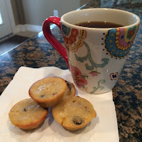 Banana Chocolate Chip Mini Muffins with Coffee