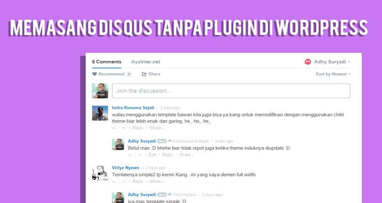 Disqus Di Wordpress Tanpa Plugin