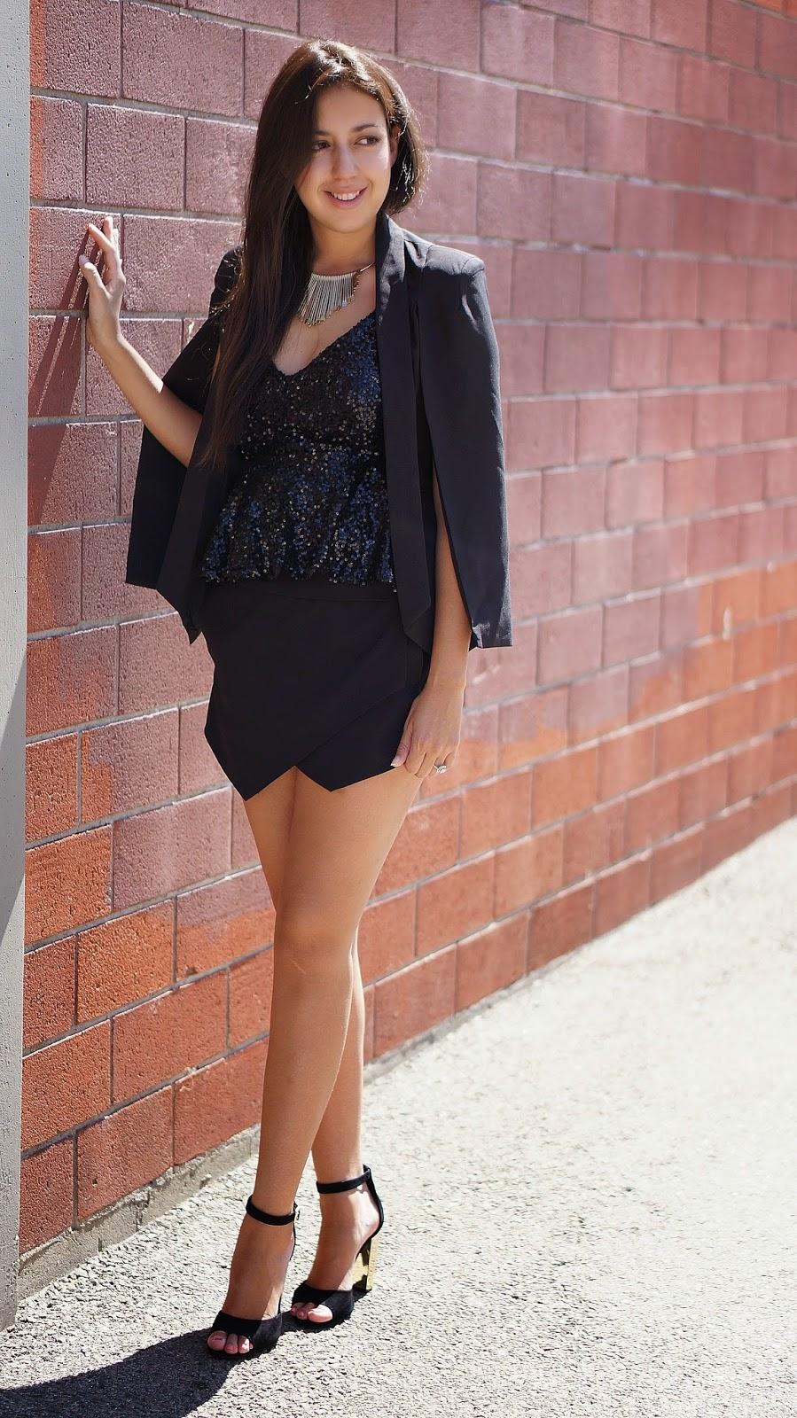 Sheinside black cape, Penny Shoemint Heels, Express Skort