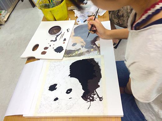 横浜美術学院の中学生教室 美術クラブ 写真から学ぶ!「アクリルガッシュで色面分割」6