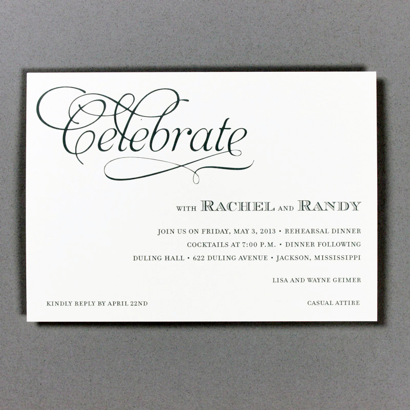 Rehearsal Dinner Invitations Fresh Ink Style Sentiment