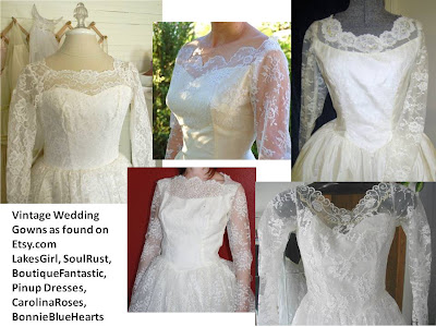 1950's wedding gowns, lace bodice