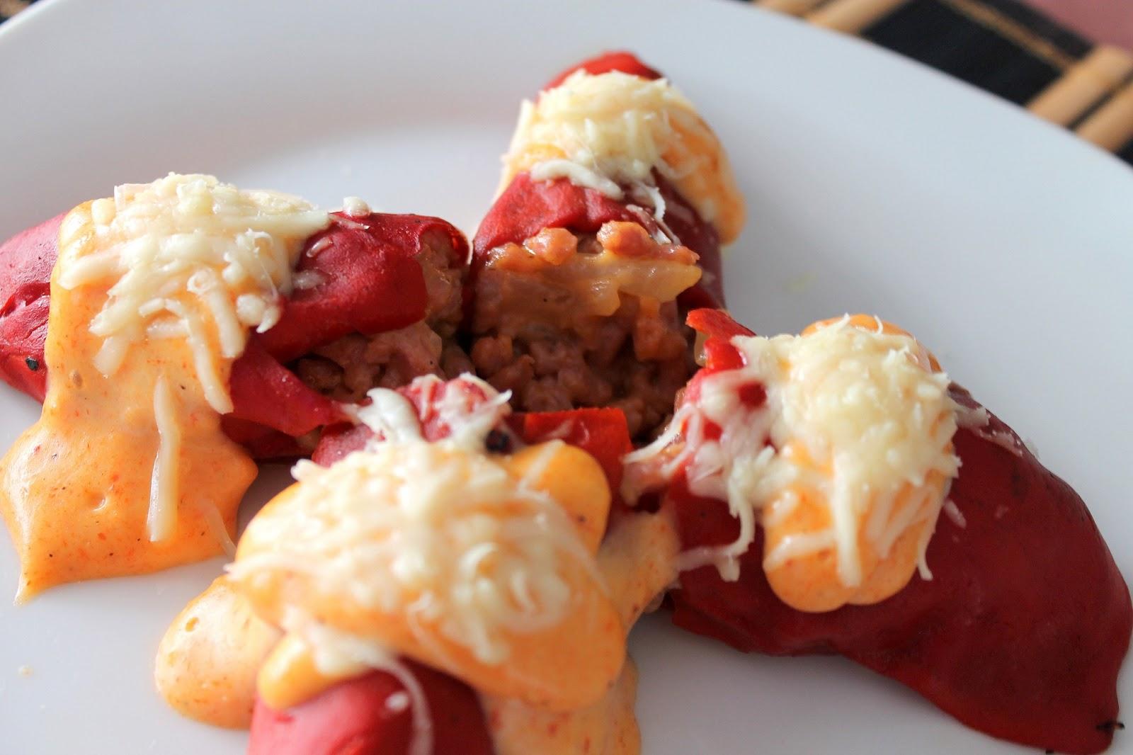 Cocinando con las chachas pimientos del piquillo rellenos - Pimientos rellenos de carne picada y bechamel ...