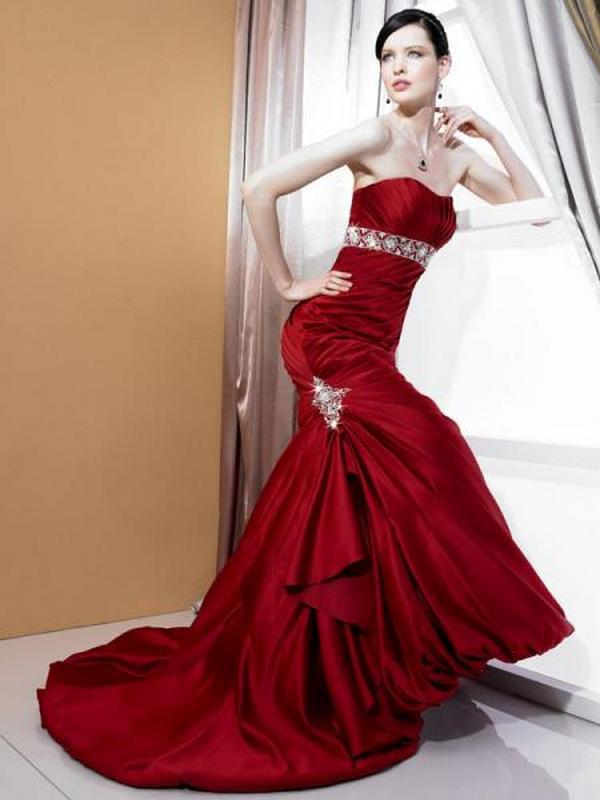Fashion beauty modern beautiful red wedding dresses for Wedding dress red