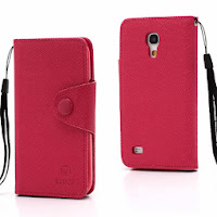 Leather Case Wallet With Credit Card Slot for Samsung Galaxy S4 Mini I9195 I9192 - Magenta