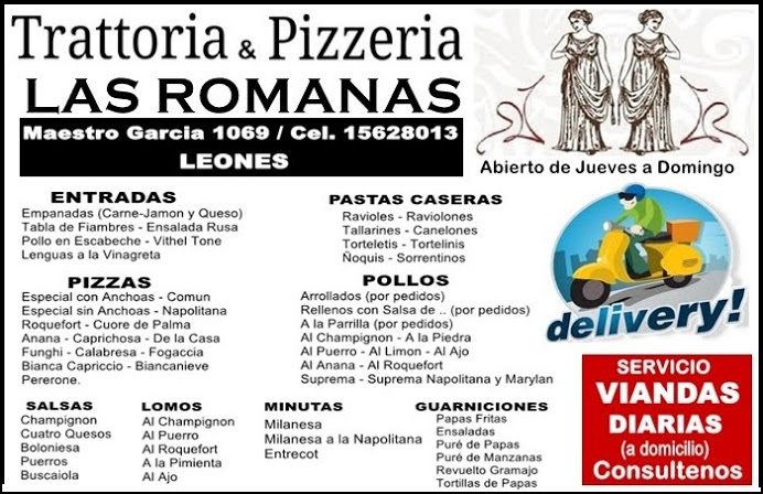 """ESPACIO PUBLICITARIO: TRATTORIA & PIZZERIA """"LAS ROMANAS"""""""