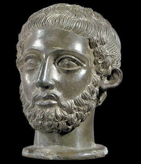 Etruscan bronze portrait bust at the Cortona exhibition