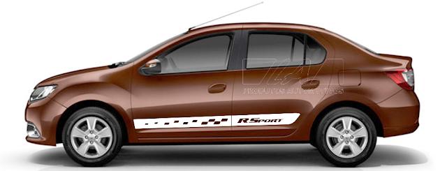 Novo Logan com kit adesovo R Sport lançamento 2015 2016
