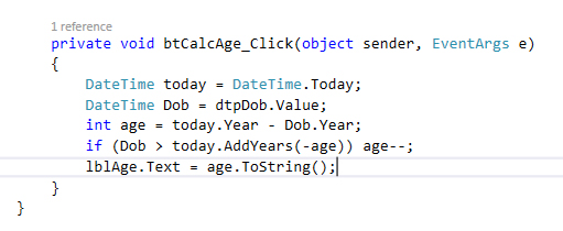 calculate age c sharp code