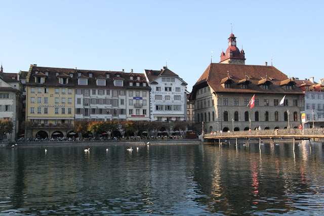 Unique buildings structure along Lake Lucerne in Lucerne, Switzerland