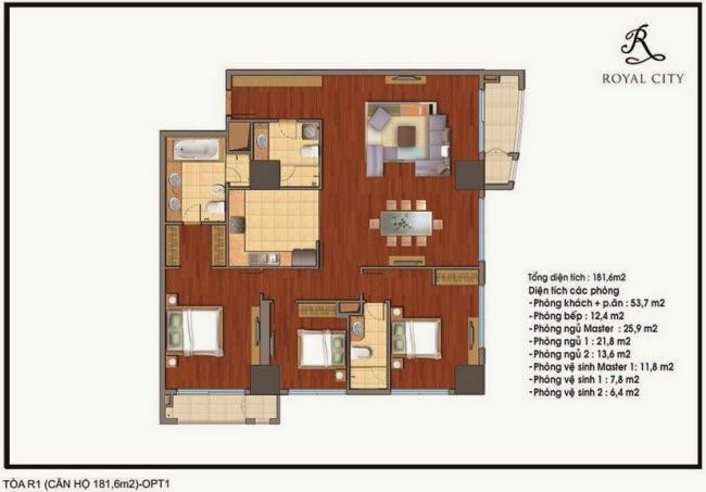 Chi tiết thiết kế căn hộ toà R1 chung cư Royal City diện tích 181.6 m2