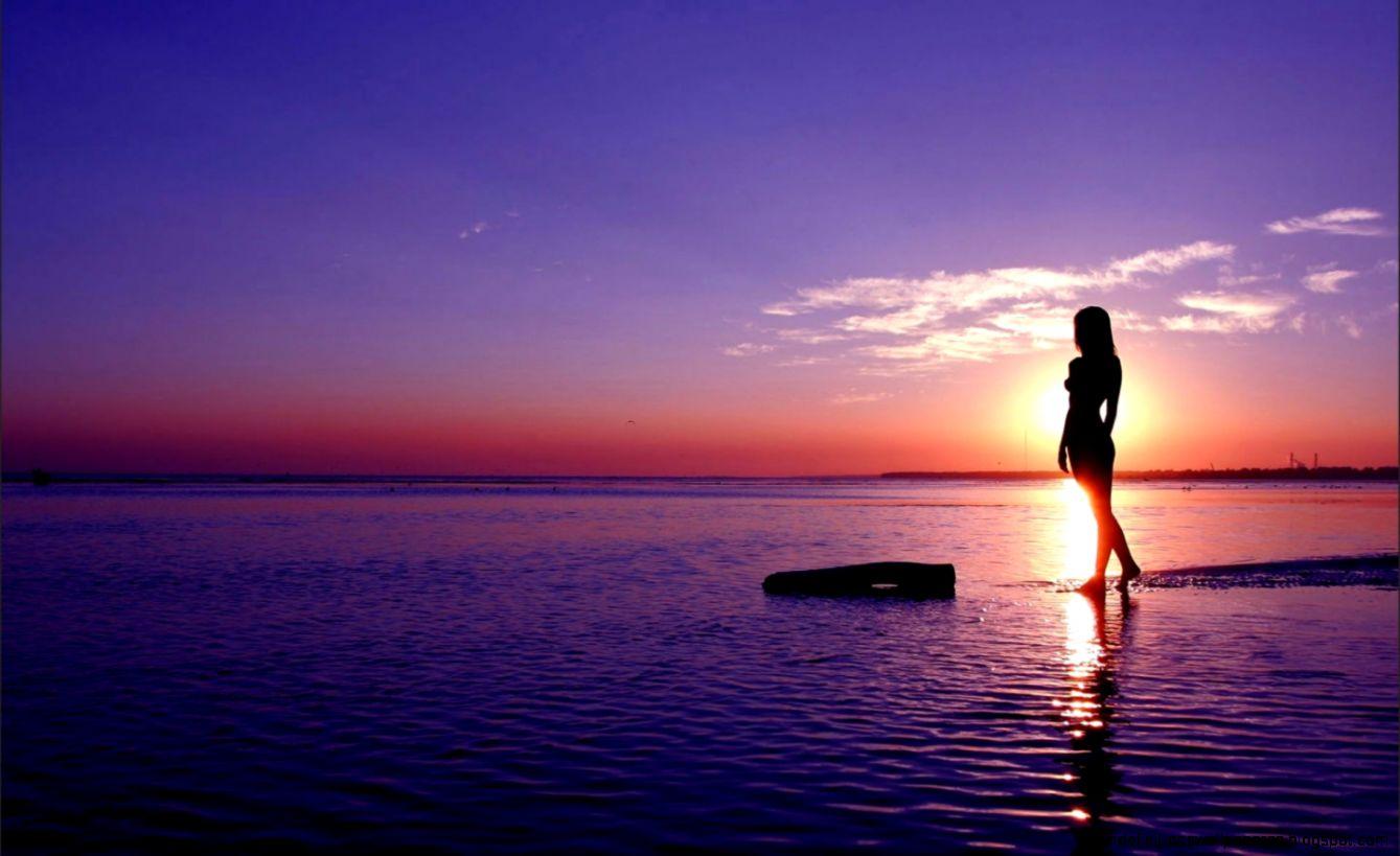View Original Size Beautiful Siluet Girl Beach Sunset Wallpaper HD Images And