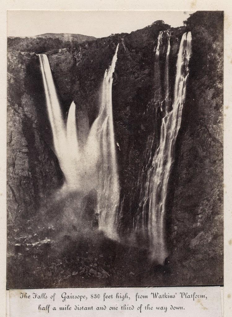 Jog Falls (Gerosoppa Falls) from Watkins' Platform - Karnataka c1860's