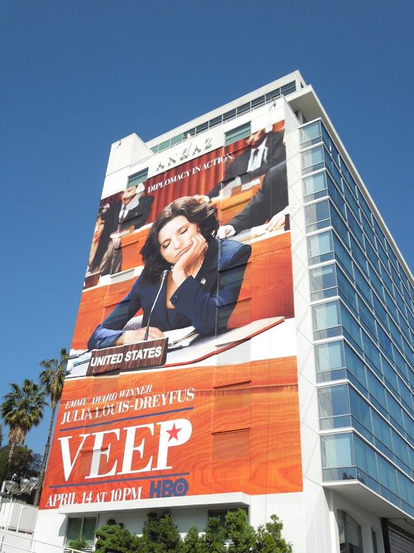 Giant Veep season 2 billboard Andaz Hotel