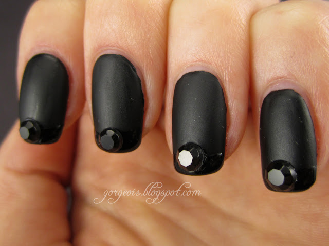 Matte black with shiny black tips and black rhinestones -- Nubar Noir and NYC Matte Me Crazy