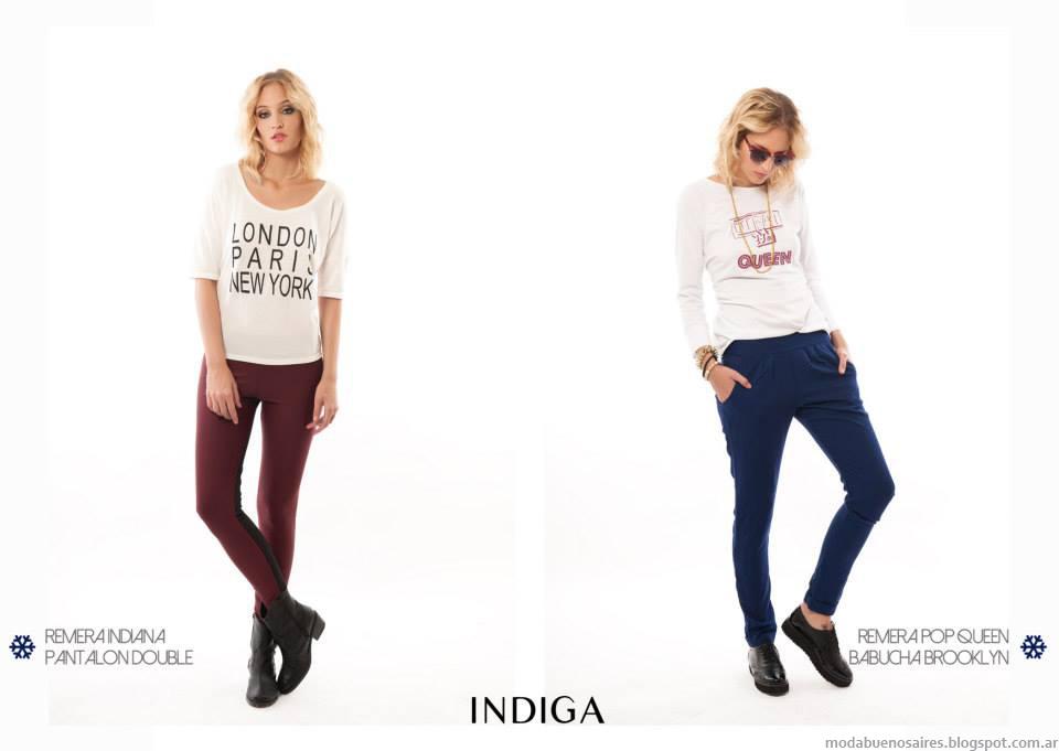 Moda pantalones otoño invierno 2014 Argentina: pantalones pitillo o chupines marca Indiga invierno 2014 colección.