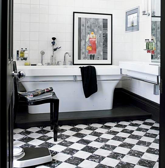 keramik kamar mandi hitam putih
