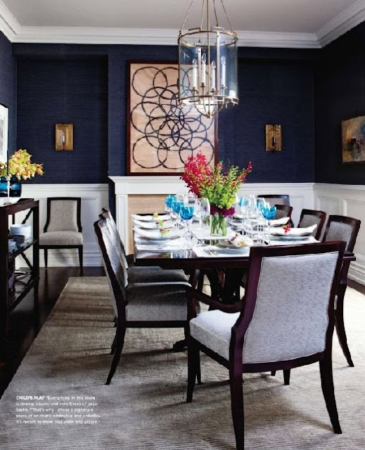 Grasscloth Walls: Chinoiserie Chic: Navy Grasscloth