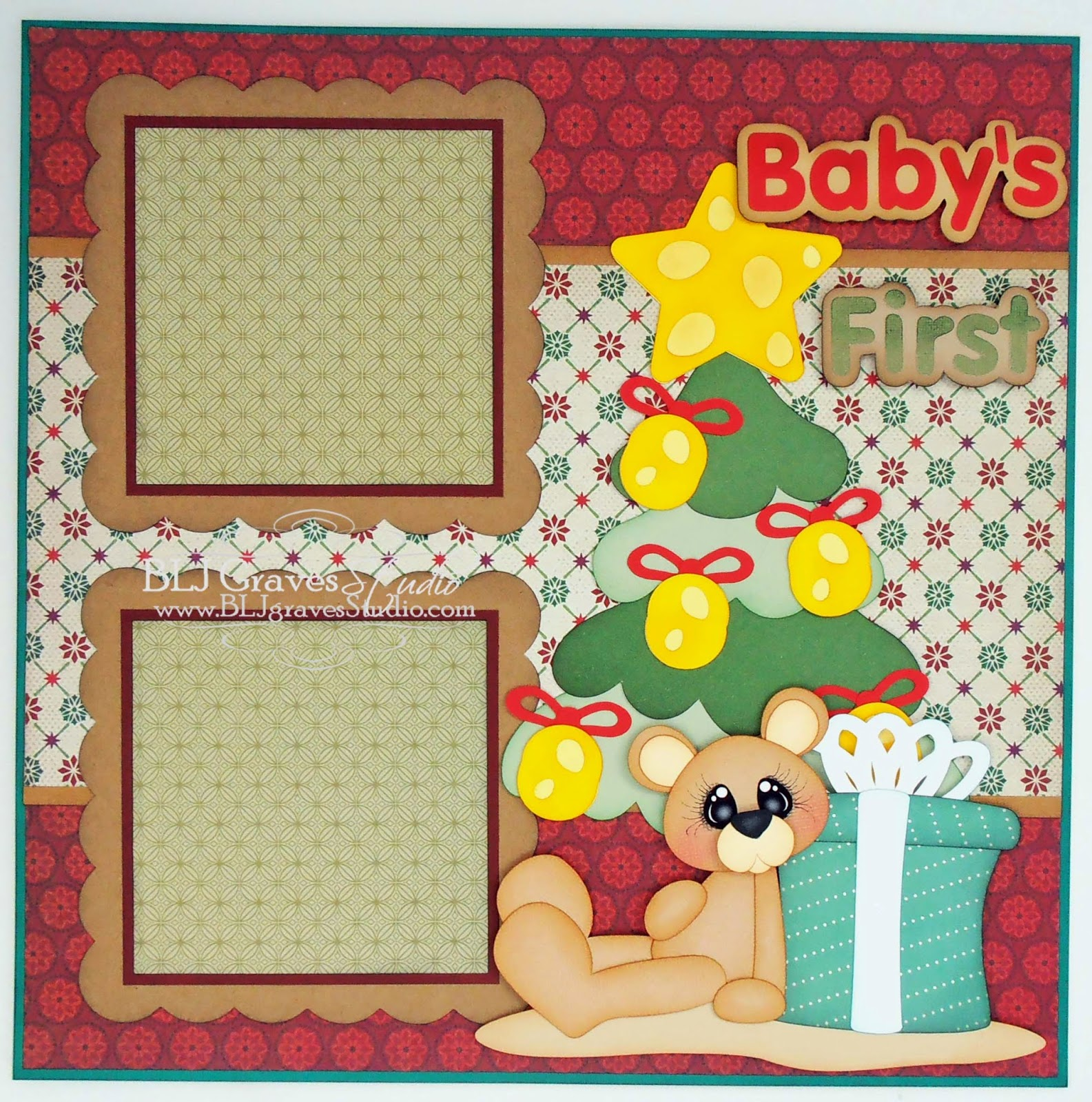 BLJ Graves Studio: Baby's First Christmas Scrapbook Layout