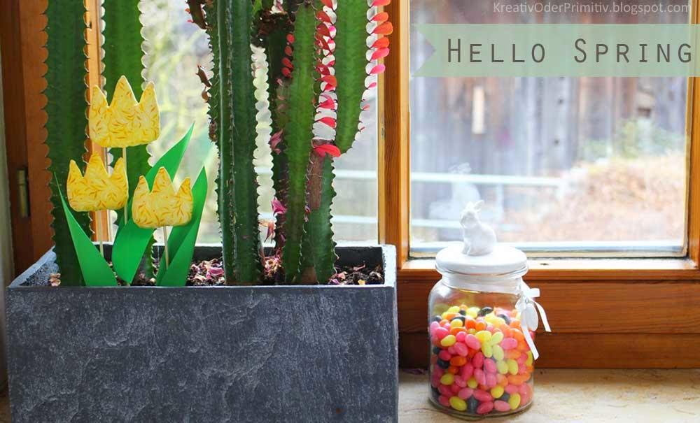 Tulpen, Blumen, Nähen, Frühling, Deko, Anleitung, Schnell, Einfach, kostenlos, selber machen, Stoff, Karton, Blumenstecher, stecker, Ostern, Frühling