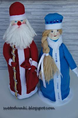 чехол на шампанское дед мороз снегурочка новогоднее