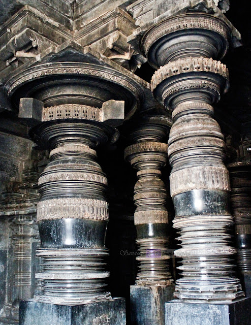 Ornate Pillars inside the Navaranga (main hall)