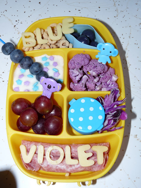 rainbow color blue violet purple bento lunch