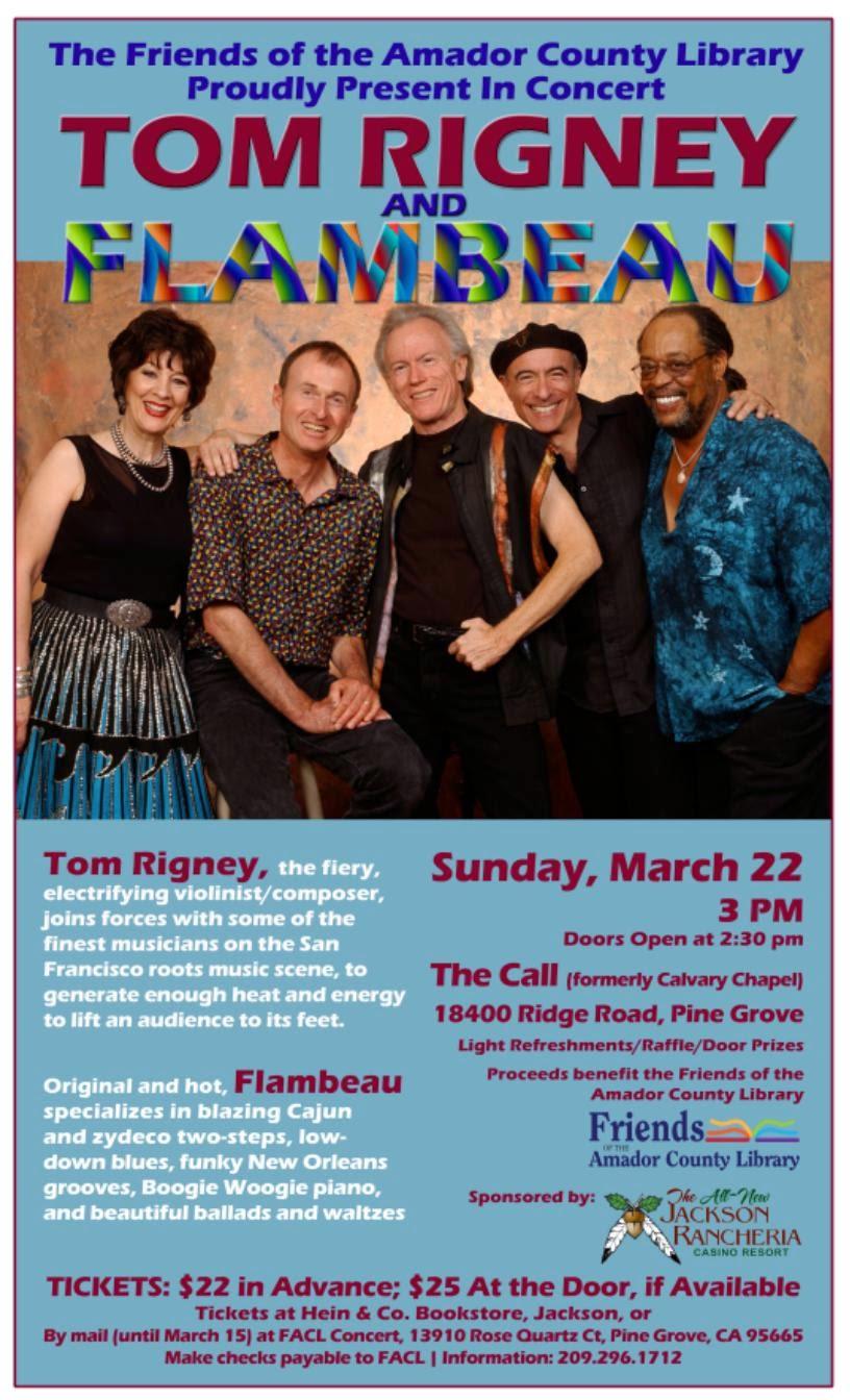 FACL Presents: Tom Rigney & Flambeau - Sun Mar 22